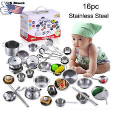16Pcs Set Kids Baby Play House Kitchen Toys Cookware Cooking Utensils Pots Pans