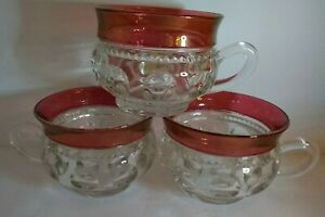 "Kings Crown Lot of 3- 2.5"" tall Thumbprint Ruby Red Vintage Sm Cups Glass Gothic"