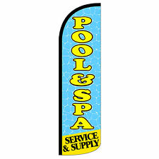 Pool Spa Windless Swooper Feather Flag Tall Banner Sign 3' Wide Blue Yellow
