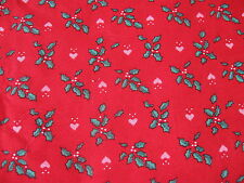 Vintage 80s cotton Chrstmas Fabric Red holly heart calico half yard cut 1/2