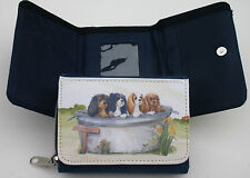 CAVALIER KING CHARLES SPANIELS DENIM BLUE FABRIC PURSE WALLET WATERCOLOUR PRINT