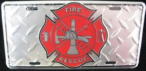Fire Fighter Diamond License Plate Car Truck Tag Fireman Firefighter Rescue