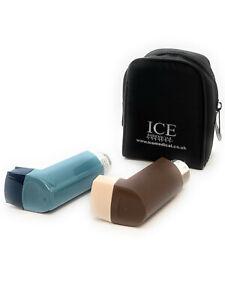 Black ICE Medical 2 Inhaler Medication Bag Case (Small) - Asthma, Travel, Home