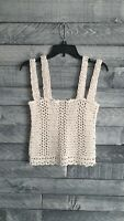 Women's Cotton Summer Blouse Top Hand Knit Chamomile Handmade Size Medium