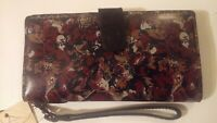 PATRICIA NASH Terresa Clutch Wallet Scarlet Blooms Flowers Leather Floral NWT