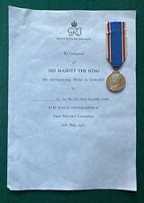 Antique British Royal Coronation Medal King George VI Queen Elizabeth 1937