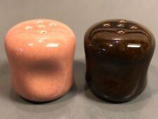 Russel Wright Steubenville American Modern Black Chutney/Coral Salt & Pepper Set