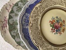 "Set 4 Vintage Mismatched China Dinner Plates Colorful Florals 10 1/4"" to 10 3/4"""