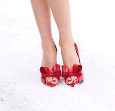 New VALENTINO GARAVANI BOW PUMP Peep Toe Red Kitten Heel SIZE 39.5/9.5  $945