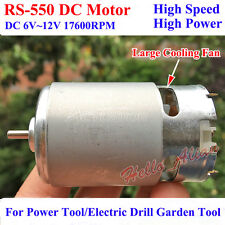 RS-550 DC Motor DC 6V-12V 17600RPM High Speed Electric Drill Tools Motor + fan
