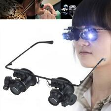 LED 20X Magnifier Magnifying Dual Eye Glasses Loupe Lens Jeweler Watch Repair UP