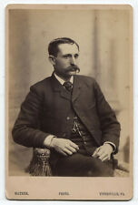 CABINET CARD MAN WITH FULL MUSTACHE, POCKET WATCH CHAIN. TITUSVILLE, PA.