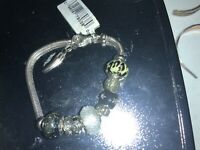 """Sterling Silver Charm Bracelet With 9 CHARMS - 7"""" -  8"""""""