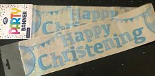 Boys Christening Banner * Cross & Bunting Design* 2.6M Long * Boys Christening