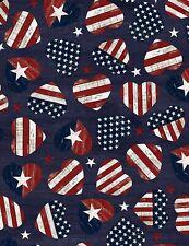 American Flag Hearts-Navy B/G-Fat 1/4-Timeless Treasures-Hearts