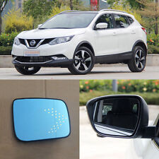 Rearview Mirror Blue Glasses LED Turn Signal with Heating For Nissan Qashqai