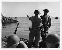 Official U.S. WW2 Photograph Navy Beach-Master Giving Directions August 1944