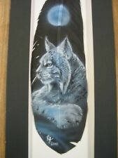 Moonlit Bobcat Lynx - Russ Abbott Hand Painted Feather - COMMISSIONED