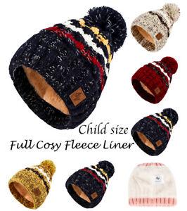 Knitted Bobble Hat, Scarf, Gloves Beanie Child Warm Winter Fleece Lining Ski