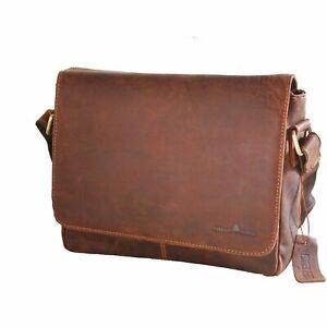 """NEW Leather Laptop Bag 13"""" Men Women Business Travel Work Shoulder Bag Brown Au"""