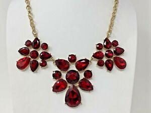 "Beautiful Goldtone Red Rhinestone Statement 19-23"" Necklace"