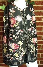Elegant Embroidered Black Floral Womens XL Nehru Jacket Vermont Country Store