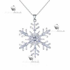 pendant necklace 18k white gold made with SWAROVSKI crystal snowflake long 82cm