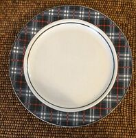 Studio Nova TARTAN BLUE Plaid White Red DINNER PLATE 10 7/8""