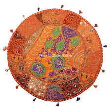 Bohemian Floor Cushion Cover Round Patchwork Vintage Kids Embroidered Cotton 28""