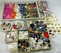 Big Mixed Lot Vintage Antique Sewing Buttons Variety of Shapes Sizes Materials