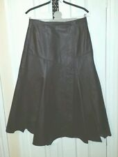 TOGETHER Womens BROWN REAL LEATHER WRAP SKIRT M uk12 us8 eu38 Waist w30ins w76cm