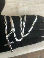 925 Sterling Silver Cross 20/Necklace Chain Cuban Pendant  Men Women