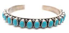 Navajo Handmade Sterling Silver Turquoise Bracelet- N.