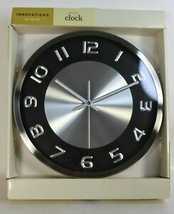 """Innovations Round 11.5"""" Metal Silver Black Accents Full Numerals Wall Clock"""