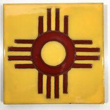 """Zia Pueblo Pottery Tile Art Sun Symbol Native American New Mexico 6 x 6"""""""