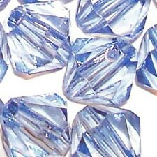 25g - 6mm Sky Blue Acrylic Faceted Bicone Beads - A5322
