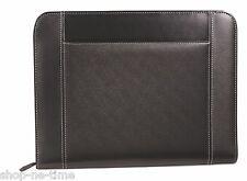 Gemline Eton Executive Black Leather Zippered Padfolio w/ Pocket for Tablets New