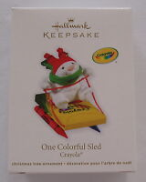 Hallmark 2011 Crayola Crayon One Colorful Rabbit on Sled Christmas Ornament