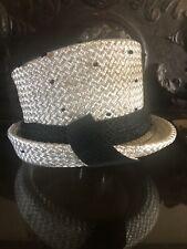 Vintage Doris Design Elegant White Raffia Hat With Black Dotted Netting