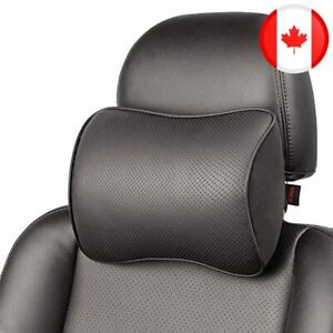 Memory Foam Car Neck Pillow Soft Leather Headrest for Driving Home Office Black