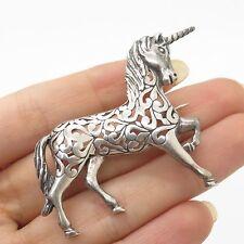 Vtg 925 Sterling Silver Unicorn Love Floral Handmade Pin Brooch