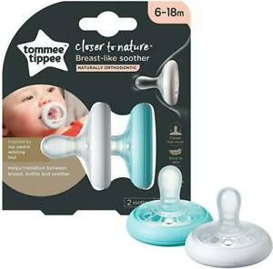 Pack 2 Tommee Tippee Closer to Nature Breast Like Ortho Soother 0-6m or 6-18m