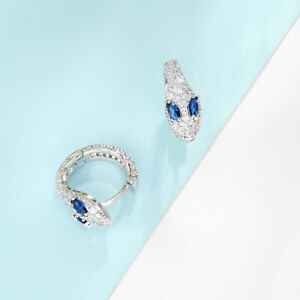 1.50Ct Marquise Cut Blue Sapphire Snake Hoop Earrings In 14K White Gold Finish