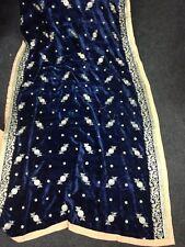 Elegant Blue Pakistani Indian Kashmiri Winter Embroidered Velvet Shawl Scarf