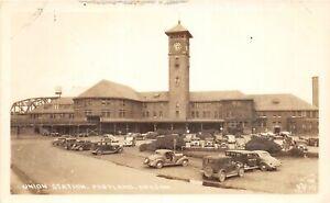 H48/ Portland Oregon RPPC Postcard c1940s Union Railroad Depot
