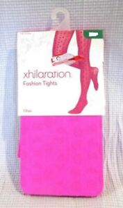 New Xhilaration Girls Fashion Tights - Hot Pink Azalea, S/M - 1 Pair