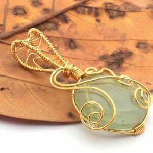 GREEN DICO GLASS Gold Wire Handmade Gemstones Pendants CCC293
