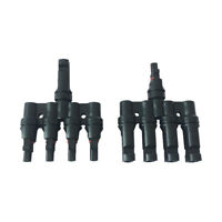 1 Pair Male Female 4 to 1 Solar Panel PV Connector Cable Splitter Adapter