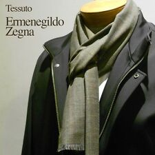 """New with tags $195 Tessuto Zegna 100% Wool Scarf 16"""" x 76"""" Olive Green Plaid"""