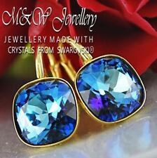 Gold Plated Silver Earrings Fancy Stone 10mm - Bermuda Blue Made with Swarovski®